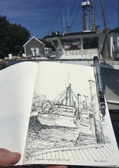 Boats in Cape Cod (schunky_monkey) Tags: fountainpen illustration art drawing draw pleinair journal sketchbook sketching sketch penandink ink pen rigging capecod harbor water boat