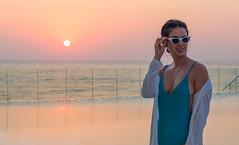 Sunset (Paul Saad) Tags: model sunset colors pretty woman girl smiling smile lebanon beirut sea beach dusk dawn sun brazilian portrait annecarolina swimsuit