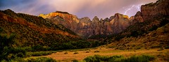 West Temple, Zion National Park (Chuanguo Xu) Tags: mountain ladscape grass sky trees rock national park zion road soil lighting rain natura color travel