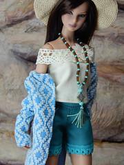 Boho Days – the light blue ethnic pattern knit coat (Levitation_inc.) Tags: ooak doll dolls clothes handmade fashion fashions royalty nuface integrity toys levitationfashion etsy barbie barbiestyle poppy parker summer boho 2018