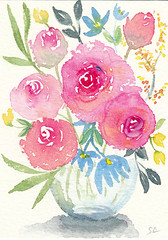 """""""Beautiful Bouquet"""" ACEO 105 (Sonia Aguiar (Mallorca)) Tags: watercolor watercolour painting drawing art acuarela aquarelle aquarell aceo bouquet flowers stilllife"""