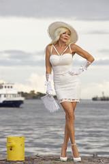 The noble lady and the bollard (DZ-fotografia - 10 Million views, Thx) Tags: lady woman long blonde hair hat white dress legs heels stilettos ferry bollard fan gloves