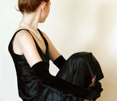 Wallflower (coollessons2004) Tags: redhead woman beautiful pearls black dress mystery mysterious