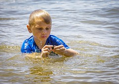 Exploring Nature (Airborne Guy) Tags: child kid boy exploring childhood water swim bay river wet find explore summer fun