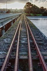 Sunset rails. (taszee63) Tags: tasmania sunset sunshine hdr 3xp bridge rails water