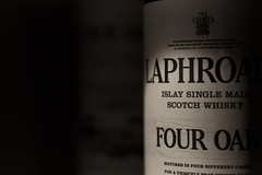 """It's been a hard day's night"". (GlebLv) Tags: a6000 sony sepia bottle whiskey laphroaig lowkey sel50f18 pleasure night mood monochrome"