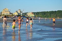 The Kids Run Off To See The Piping Plovers (Joe Shlabotnik) Tags: july2018 carolina higginsbeach 2018 violet beach dylans helent everett gabriella maine ocean afsdxvrzoomnikkor18105mmf3556ged