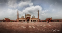 Jama Masjid (marko.erman) Tags: jamamasjid shahjahan mughal mosque architecture history religion newdelhi india minarets towers standstone red marble white courtyard terrace panoramic panorama stitched