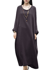 Casual Brief Solid Color Long Sleeve Cotton Baggy Dress For Women (1212266) #Banggood (SuperDeals.BG) Tags: superdeals banggood clothing apparel casual brief solid color long sleeve cotton baggy dress for women 1212266