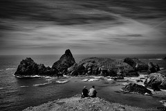 Rocks Of Kynance Cove (galvanol) Tags: galvanol sea atlantic costalpath seaside coastline mood maritime hikingcornwall bw lizard seagull cornwall blackandwhite clouds kynancecove