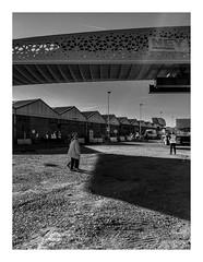 160609_193051_iphone5s_antwerpen_cadixwijk_fietsersbrug (A Is To B As B Is To C) Tags: aistobasbistoc belgium b bw blackwhite blackandwhite monochrome antwerp antwerpen phonography iphone5s kattendijkdokoostkaai cadix cadixwijk eilandje belgië brug fietsersbrug voetgangersbrug transport people couple ladies sheds entrepot street construction