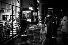Street-food choices (1) (damar47) Tags: bologna street streetphotography citycenter pentax pentaxart pentaxian 21mm wideopen people streetstyle k30 streetlife urban blackandwhite blackwhite bnw biancoenero monotone monoart monochrome emiliaromagna italy italia caldarroste baracchina portici arcs porch grandpa grandfather lightroom adobelightroom lr5 ricohpentax