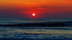 Red Sky At Morning.... (Donald.Gallagher) Tags: atlantic beach corolla horizontal nc nature northamerica northcarolina obx ocean outerbanks outerbanx public sky summer sunrise typecolor typelightroom typeportrait typeshutterbuttonfocus typetelephoto usa vacation waves whalehead
