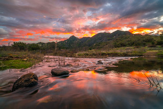 Malibu Canyons Fine Art Landscape Photography: Sony A7RII Malibu Creek State Park Fine Art Nature Photography: Brilliant Malibu Sunset Colorful Clouds Long Exposure Water Reflections Scenic Vista View! Carl Zeiss Sony Vario-Tessar T* FE 16-35mm f/4 ZA OSS