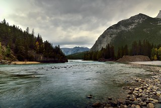 Where the Bow River Flows Downstream at Bow Falls (Banff National Park)