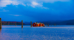 Is there anybody out there? (evakongshavn) Tags: water waterscape red house redhouse building sky ocean sunset clouds blue bluetiful bluehour light