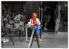 Be Yourself (Gordon McCallum) Tags: coffeelover woman style coffeeshop outsideseating starbucks buchannansteet glasgowcitycentre blacknwhitewithcolour sony sonya6000 streetscene sony55210lens
