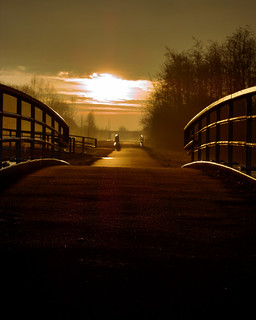 Sunrise behind the bridge