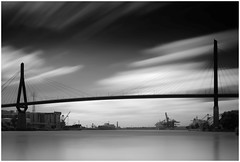 Köhlbrandbrücke (T.Seifer : )) Tags: blackandwhite blackwhite bw bridge longexposure fx hamburg köhlbrandbrücke outdoors outside tourism elbe monochrome haida whiteandblack whiteblack harbour clouds cloudscape lines view