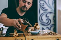 tea master (YellowTipTruck) Tags: teaparty bunfight greentea teamaster tea crockery dishes pouredtea teagods teatable