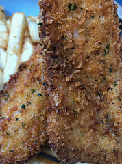 2018 Fish & Co lunch: Herb Crumbed Hake & Chips (dominotic) Tags: 2018 food drinks meal lunch fishcosustainablefishlunch herbcrumbedhakechips yᑌᗰᗰy tramshedsharoldpark macro iphone8 sydney australia