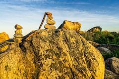 Tiny Rock Cairns at Meigs Point (Alan Charles) Tags: ct cairn connecticutshore hammonassetbeachstatepark hammonassetstateparkmeigspoint meigspoint seascape beach ocean rockyshoreshore sea shore