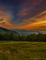 Sunset Along The Appalachian Trail (HarrySchue) Tags: landscape nationalparks shenandoahnationalpark spitlersknoll sunset appalachiantrail hiking mountains trees nature clouds dramaticsky nikon d800e reallyrightstuff bwfilters serene