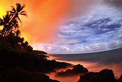 Lava glow (86Ladybird) Tags: lava glow timelapse ocean palmtree wind night smoke clouds mars stars oceanentry rocks island orange blue