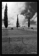 Gravejard Tijarafe, La Palma, Islas Canarias (Dierk Topp) Tags: bw himmel canaryislands clouds friedhof graveyard islascanarias lapalma monochrom sw trees wolken