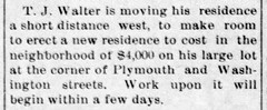 1910 - T J Walter builds 130 E Plymouth - Enquirer - 31 Mar 1910