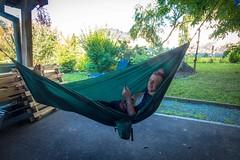 Andrew relaxing in the hammock.