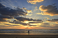 THE SURFER (Roi.C) Tags: sun sunbeams sunlight surfer sunset sunrays clouds cloud sky water waves wave beach sand reflection silhouette surfing outdoor mediterraneansea sea season serene telaviv israel nikond5300 nikkor nikon 2018 ngc