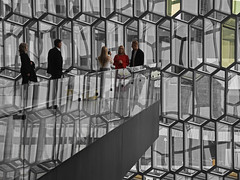 Harpa Concert Hall 2 (RobertLx) Tags: architecture building iceland island reykjavik desaturated people posing glass city reflection europe harpa concerthall grid pattern