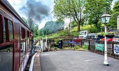 Oakworth (Peter Leigh50) Tags: keighley worth valley railway railroad rural road rail steam station locomotive transport car lorry people fujifilm fuji xt2 train