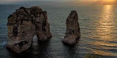 Pigeons' Rock, Sabah Nassar's Rock, or Rock of Raouché - in Beirut (stevebfotos) Tags: beirut raouchérock lebanon sunset pigeonrock mediterraneansea