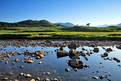 Abhainn Shira (OutdoorMonkey) Tags: river water stream watercourse lowflow scotland abhainnshira rock stone exposedboulders grass grassland valley bluesky evening outside outdoor countryside rural nature natural scenery scenic wild wilderness