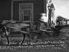 GIDDY UP II (annemcgr) Tags: cuba trinidad horse carriage rider blur motion motionblur blackwhite bw monochrome fineartphotography