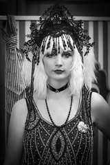 Portrait from the Whitby Steampunk Weekend IV - Days Like These (Gordon.A) Tags: yorkshire whitby steampunk whitbysteampunkweekend iv dayslikethese wsw july 2018 convivial creative costume culture lifestyle style fashion pretty lady woman people street festival event eventphotography amateur streetphotography pose posed portrait blackandwhite bnw bw mono monochrome monochromatic naturallight naturallightportrait digital canon eos 750d sigma sigma50100mmf18dc
