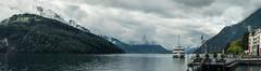 An der Schifflaende in Brunnen, SZ  - Teilpanorama  (Lake Lucerne, Switzerland) (auggie w) Tags: lake mountains boat ship cruise switzerlandschweiz schwyz clouds
