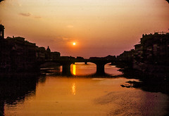 Sunset Over the Arno, 1968 (Bill in DC) Tags: italy italia firenze florence 1968 film 35mm kodachrome64 agfa arno