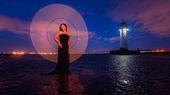 Light Painting (Mariusz Talarek) Tags: lighthouse mtphotography madzia merseyside newbrighton beach dark landscape lightpainting night portrait