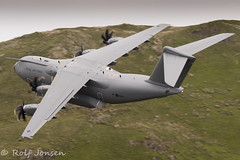 ZM417 Airbus A400M-180 Royal Airforce Mach Loop 11.06-18 (rjonsen) Tags: plane airplane aircraft aviation military transport freighter low level flying flight turboprop green raf