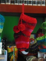 Red Orange Pink Wool Christmas Stocking Pom Pom Socks (brandacrafts) Tags: branda christmas stocking sock knits stripes