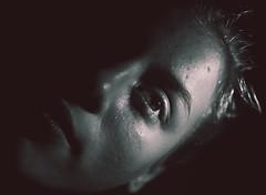 Hope (kisicekpatrik) Tags: black white bw girl human face portrait artistic eyebrows eye eyelashes nose mouth hair ear alive