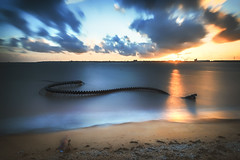 sunset for a snake (Francois Le Rumeur) Tags: snake serpent mer océan plage beach sea ocean sable photographe worker paysage landscape seascape estuaire saint brevin nazaire
