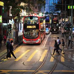 Hong Kong (peter.heindl) Tags: hong kong twilight night tram dingding ding street public transport traffic bus