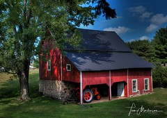 Little Red Barn (Tom Mortenson) Tags: barn redbarn lincolncounty merrillwisconsin farm country rural countryside agriculture wisconsin usa america summer midwest northamerica digital canon canoneos geotagged canon6d 1740l tractor americasdairyland littleredbarn hdr tonemapping photomatix