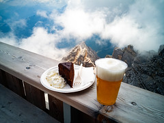 Blond beer and a slice of Sachertorte (Agnolo) Tags: alcohol ale background bakery baking beer beverage blondale cake chocolate clouds cream day delicious dessert dolomites drink fog food holiday indulgence lager mountain pastry peak premium refreshment rocks sacher sachertorte snack sugary sweet sweets terrace traditional weissbier