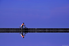 Aparcando en la linea - Parking in the line (ricardocarmonafdez) Tags: ciudad city streetphotography reflejos reflections mirror espejo bicicleta bicycle people linea composition azul blue minimalismo minimalist