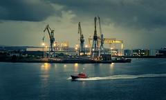 Pilot boat, Belfast Harbour (bruce.marshall2@btinternet.com) Tags: skyline olympus45mm18lens olympusomdem10ll olympus northernireland dusk cranes ships harlandandwolfe industry sea water nightphotography ireland belfast belfastharbour